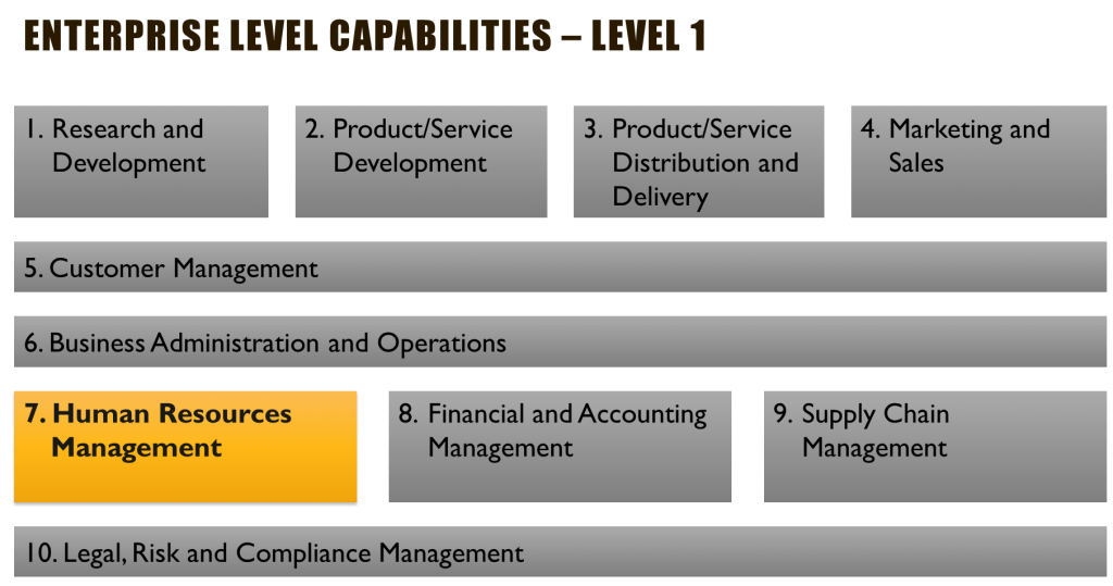 Business Capability Map Example - Enterprise Level 1 Capabilities