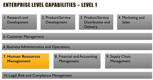 List of common business capabilities - A View of Level 1 Capabilities